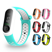 Correa de muñeca de silicona disponible en 10 colores para Xiaomi Mi Band 4 3 correa doble Color reloj de repuesto Accesorios inteligentes(China)