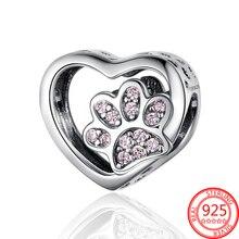 Heißer Verkauf 925 Sterling Silber Rosa CZ Hund Pfote Druck Herz Charme Fit Original 3MM Pandora Armband Silber Schmuck geschenk