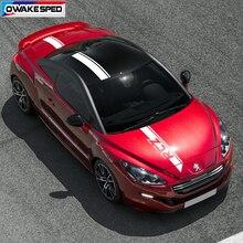 1 Set Sport Auto Haube Motorhaube Aufkleber Schwanz Dach Decor Vinyl Aufkleber Für Peugeot RCZ Coupe Begrenzte Edition Streifen Ganze körper Streifen