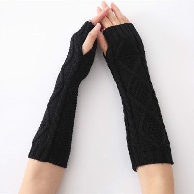 Female Gloves Arm Sleeve For Winter Knitting Rhombus Woolen Jacquard Keep Warm Women Half Finger Cuff Fashion Colorful
