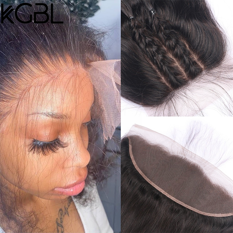 KGBL Invisible HD Lace Frontal Closures 13x4 Lace Closure With Baby Hair Straight Human Hair Melt Skins HD Lace Transparen