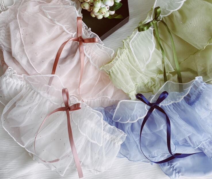 Новое поступление 2020 г., Бесплатная доставка, милые симпатичные шифоновые сетчатые трусики с бантом и оборками в стиле