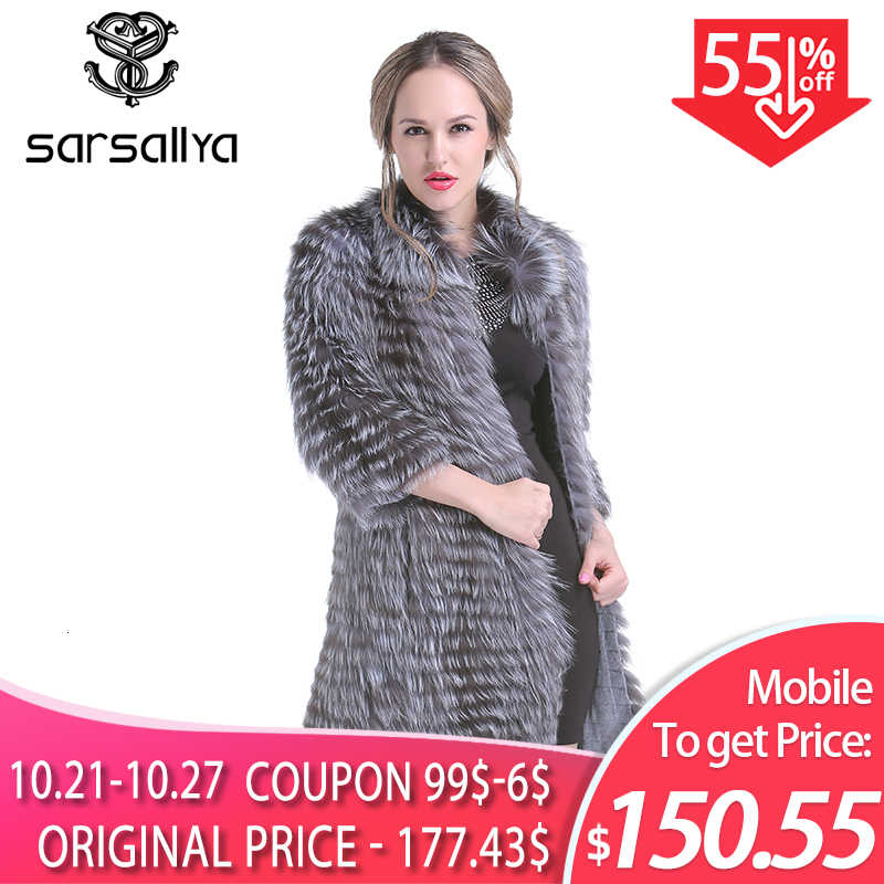 Real Silver Fox Fur Coat Women Long Natural Fur Coat Female Knitted Spring Genuine Fur Overcoat For Ladies Luxury Plus Size 2019