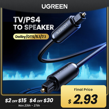 Ugreen Digital Optical Audio Cable Toslink 1m 3m SPDIF Coaxial Cable for Amplifiers Blu-ray Player Xbox 360 Soundbar Fiber Cable emk 5 1 digital sound spdif optical cable toslink cable fiber optical audio cable with braided jacket od6 0 1m 2m 3m 10m 15m
