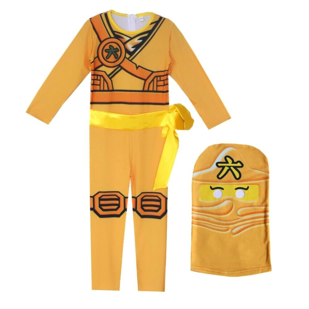 Kids Ninjago Party Costumes Boy Girls Halloween Cosplay Jumpsuits Ninja Superhero Suit Children Carnival Purim Clothes Set 4