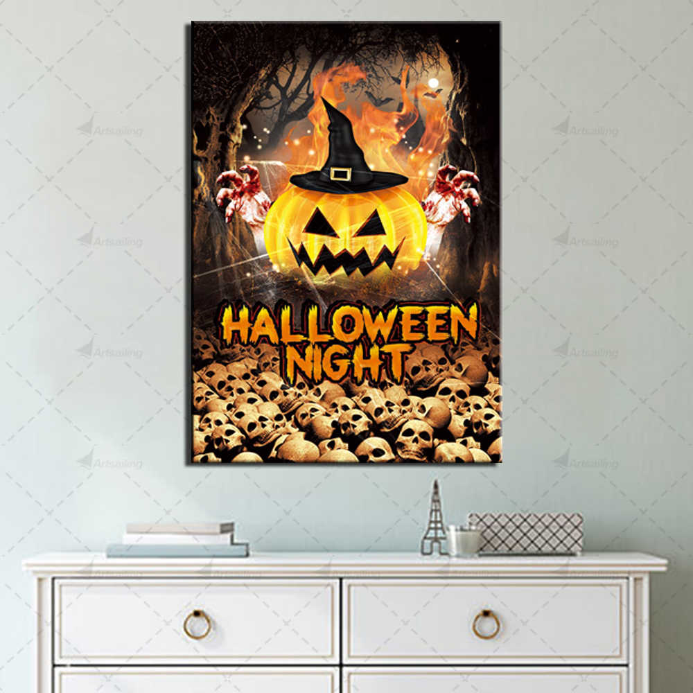 Modular Picture Halloween Posters and Prints Wall Art Home Decor for Living Room 1 Piece Horror Pictures Canvas Painting