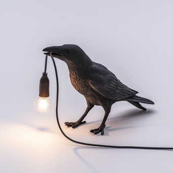 Pássaro lâmpada de mesa italiano seletti pássaro lâmpada moderna resina corvo lâmpada para sala estar quarto arandela luz da parede decoração da arte casa