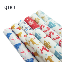 QIBU 1pcs Christmas Faux Leather Sheets Vinyl Fabric Cartoon Elks Printed Bow DIY Bags Material Synthetic