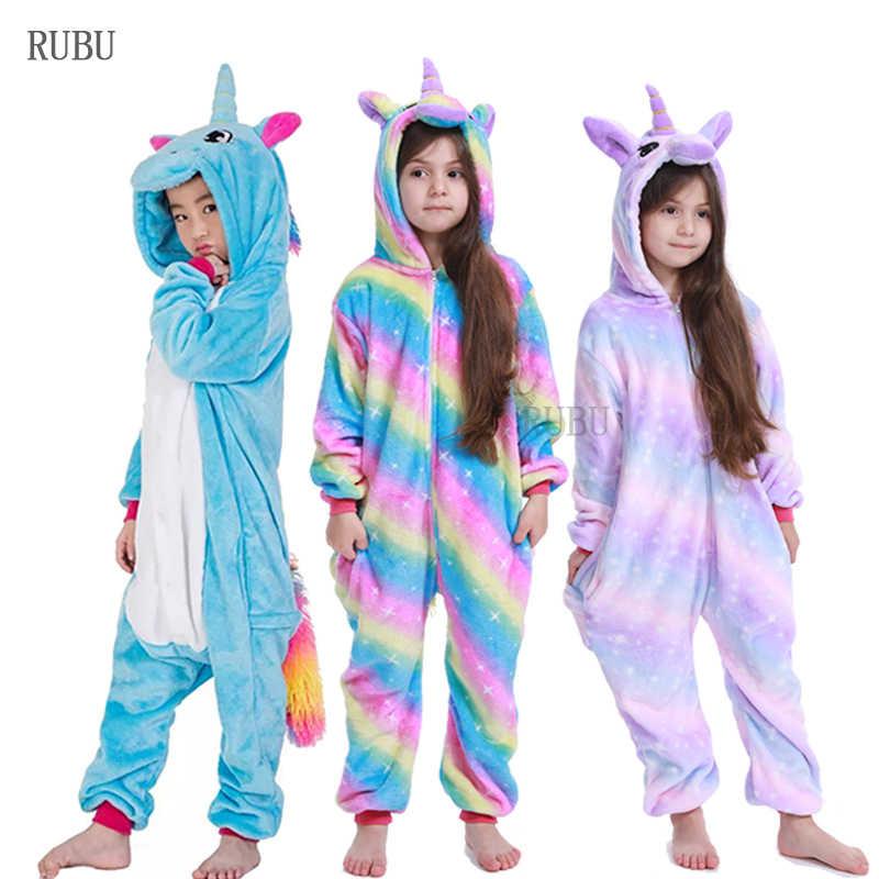 Зимние пижамы кигуруми для мальчиков и девочек, единорог, аниме, животные, стежка, комбинезоны, детская одежда для сна, фланелевый детский комбинезон, женская пижама