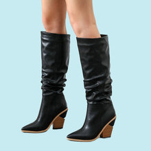 2019 Fashion Knee High Boots Soft Leather Women Wedges High Heels Long Boots Pointed Toe Western Boots Autumn Winter Woman Boots