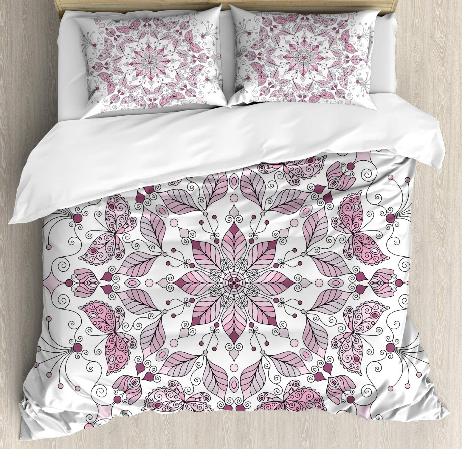 Purple Mandala Duvet Cover Set Lacy Pastel Floral With Butterfly And Lotus Meditation Design Decorative 3 Piece Bedding Set