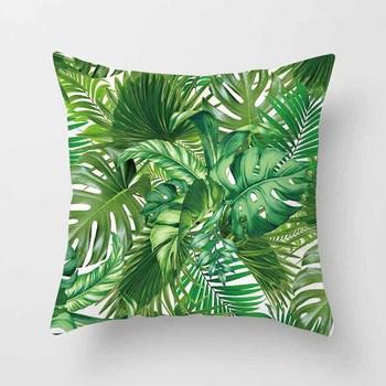 Tropical Green Leaf Cushion Covers