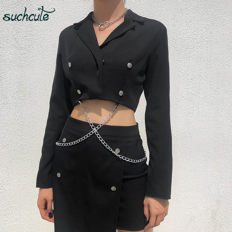 SUCHCUTE Women's Jacket Blazer Black With Metal Chain Coat Female Feminino Chaqueta Mujer Veste Festival Harajuku 2019 Clothes