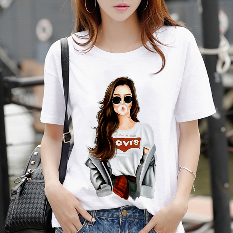New women's white Tshirt Harajuku Beauty blowing bubbles printed T Shirt vogue pretty girl clothing Leisure female T shirt Tops