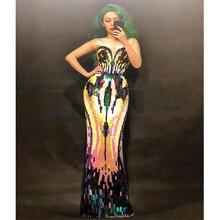 Женское длинное вечернее платье с блестками роскошное эластичное