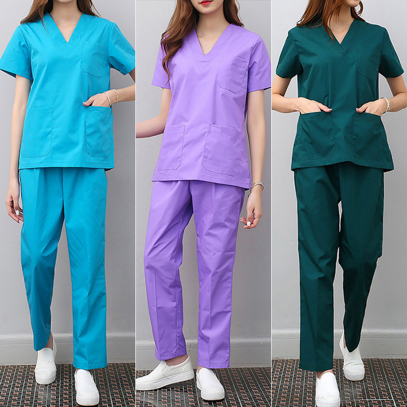 Viaoli New White Medical Scrub Sets Hospital Uniforms Doctors Scrub Suits Surgical Clothes Uniform Medical Fashion Lab Coat Sets