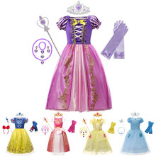 Rapunzel neve rainha presente de natal do bebê meninas vestido cinderela aurora belle sofia cosplay traje de festa vestido de princesa traje