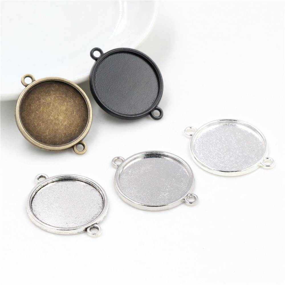 10pcs 20mm Inner Size Classic 5 Colors Plated One Sided Double Hanging Simple Style Cabochon Base Setting Charms Pendant