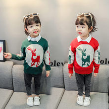 Baby Girls Sweater With Deer High Quality Toddler Knitwear Kids Knit Sweater With Deer Girls O-Neck Collar Long Sleeve Knitwear