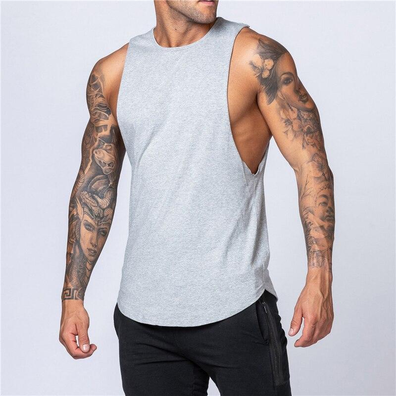 Mens Tank Tops Shirt Gym Tank Top Fitness Clothing Cotton Sleeveless Vest Man Plain Canotte Bodybuilding Stringer Tanktop