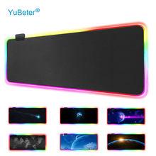 YuBeter LED Light Gaming RGB Large Mouse Pad Cover Office Bedroom Big PC Computer Mousepad Desktop Keyboard Mat Cushion Non-Slip