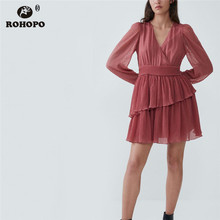 ROHOPO Wrap V Collar Embroidery Polk Dot Red Tulle Dress Cascading Ruffled Double Layers Belted Vestido Maxi Mini Robe #6177