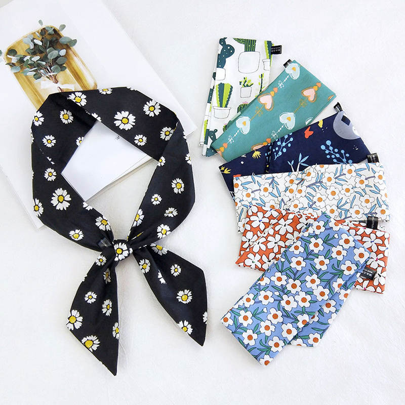 Retro Head-Neck Wrap Daisy Flowers Print Small Silk Scarf High Quality Tie Band Cotton Linen Scarf Bags Tie Band Wristband Wrap