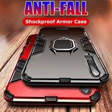 Luxus Rüstung Ring Halterung Fall Für Xiaomi Redmi Hinweis 9S Hinweis 4X 7 8 9 6 Pro 8T k20 K30 Pro 7A 8A 5 Plus 4 Stoßfest Stoßstange Fall