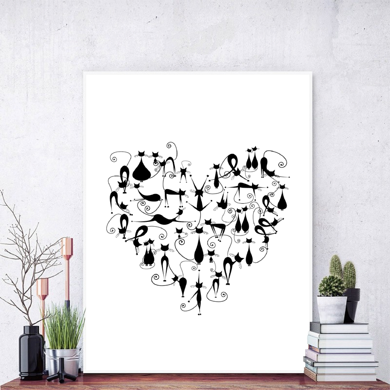 I Love Cat Print Black Cats Silhouette Heart Shape Poster Wall Art Canvas Painting Black And White Pet Animal Picture Home Decor Aliexpress