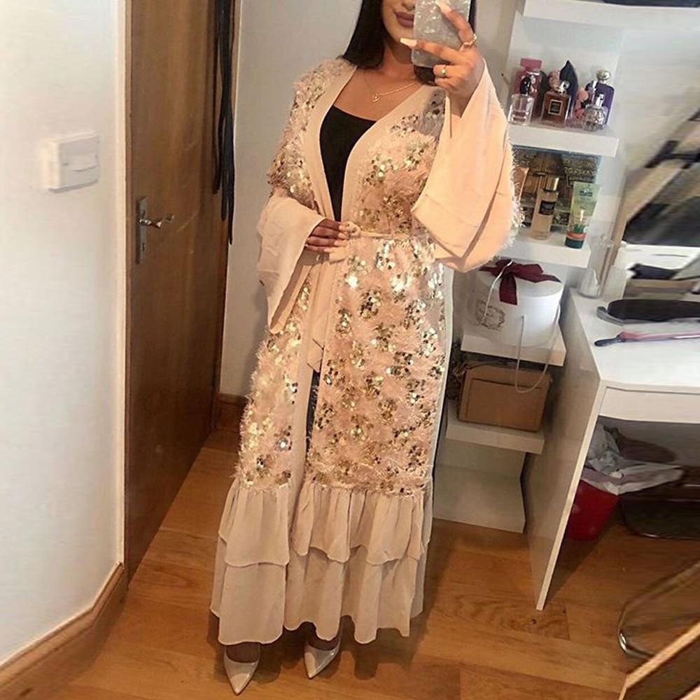 Sequin Dubai Abaya Kimono Cardigan Hijab Muslim Dress Women Turkish Dresses Robe Islam Caftan Moroccan Kaftan Islamic Clothing
