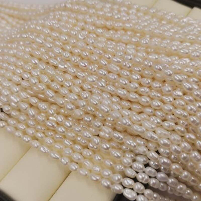 새로운 도매 25 가닥 3.5 4mm 쌀 화이트 담수 진주 느슨한 문자열-에서구슬부터 쥬얼리 및 액세서리 의  그룹 3