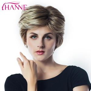 Image 4 - Hanne mix peruca de cabelo sintético, perucas de cabelo sintético, marrom e loiro, alta temperatura, resistente ao calor, peruca afroamericana curta