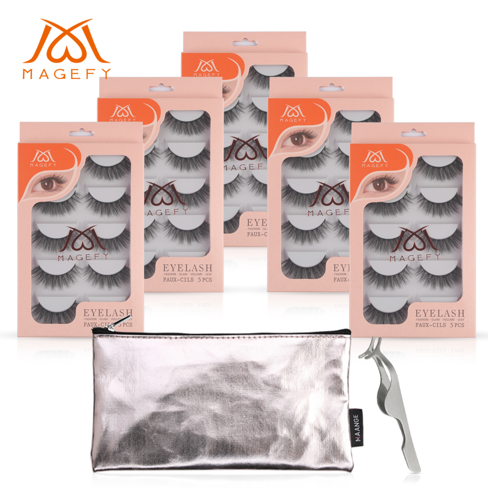 25Pairs 3D Soft Mink Hair False Eyelashes Handmade Wispy Long Lashes Natural Eye Makeup Tools Faux Eye Lashes With Tweezer