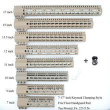 Купить с кэшбэком Tan / Flat Dark Earth 7'' 9'' 10'' 11'' 12'' 13.5'' 15'' Clamp Stlyle Slim Handguard Rail Free Front Handguard Rail Mount System