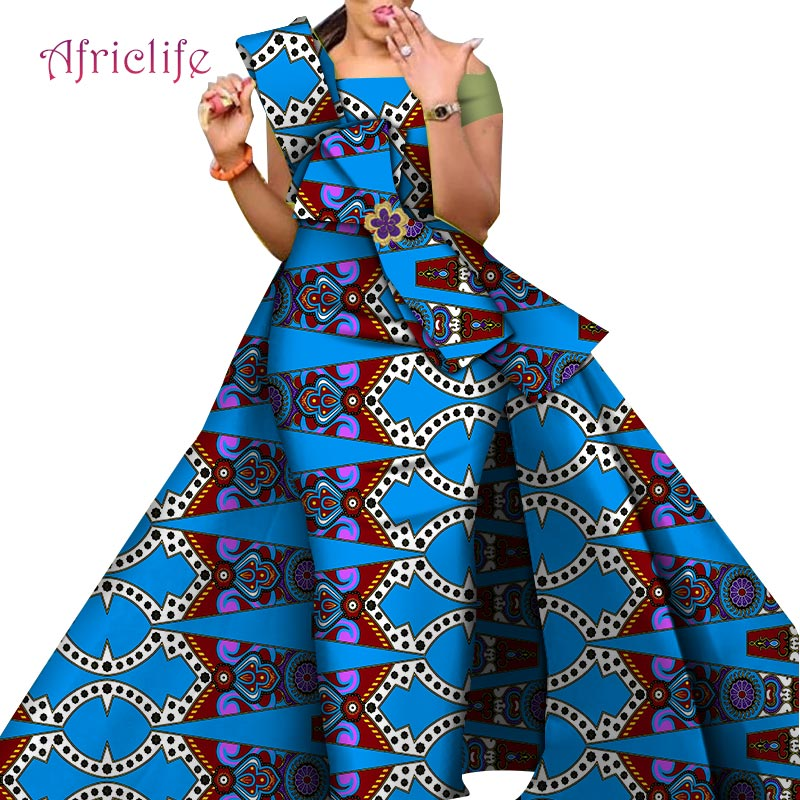 2020  Newest Design Danshiki Traditional Skirt Fashion Fabric 100% Cotton  African Bazin Fabric Dresses For Women WY4630