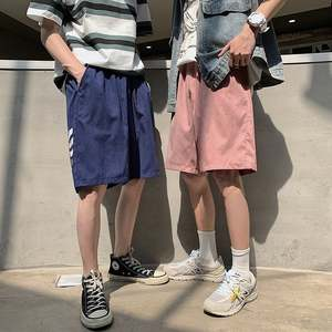 2020 summer and autumn men's loose solid color casual five-point pants shorts  1277