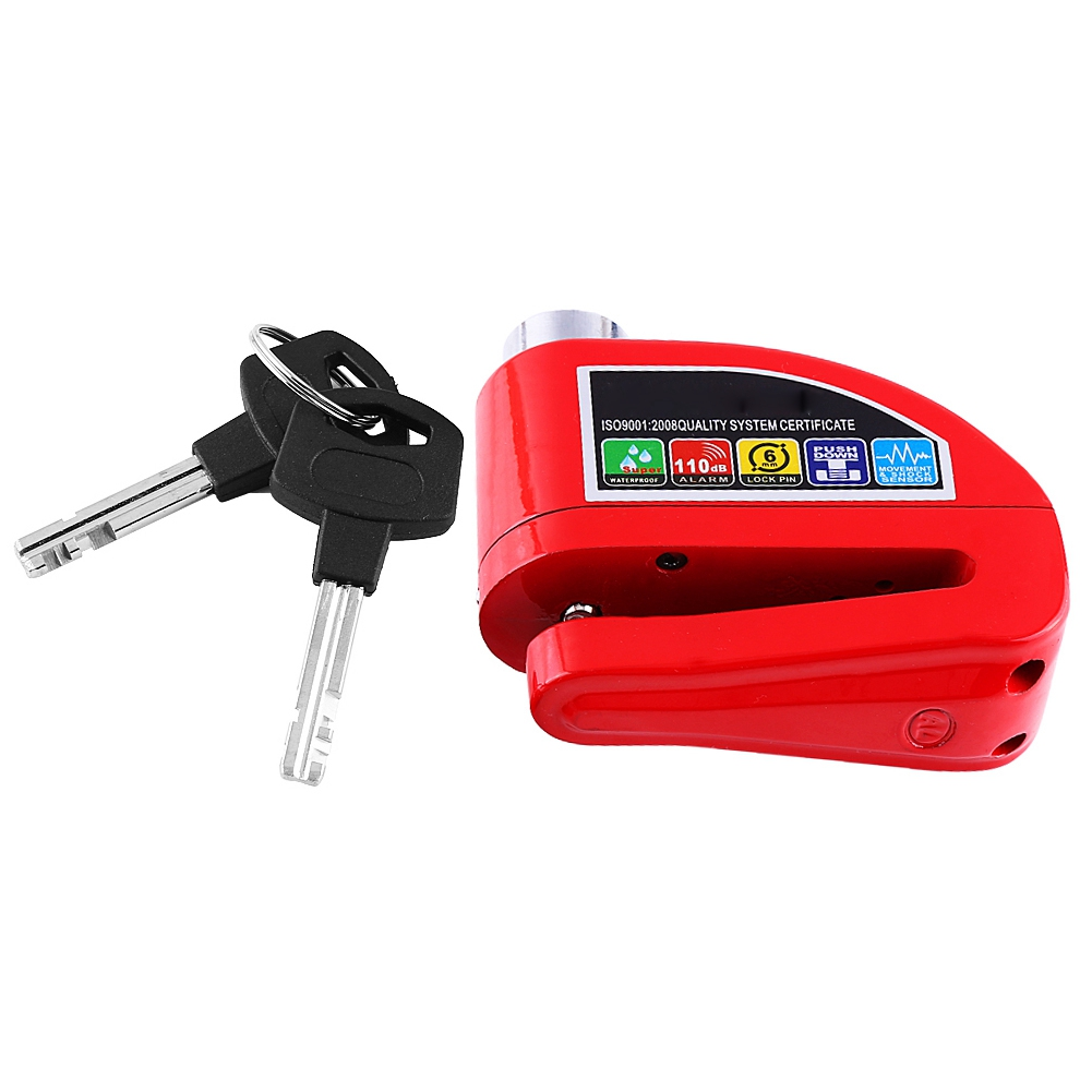 Universal Motorcycle Anti-theft Disc Brake Lock Security Alarming System With Small Spanner Three Keys Built-in LR44 Button Cell