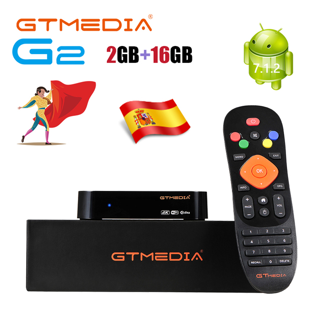 GTmedia G2ทีวีกล่องAndroid 7.1สมาร์ททีวีกล่อง2GB 16GB WIFI Google Cast Netflixชุดกล่องด้านบนPK G1 GTC X96miniพร้อมM3U GTplayer
