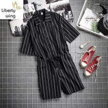 Japan Style Vintage Hip Hop Striped Short Sleeve Rompers Jumpsuit Knee Length Pants Summer Pocket Loose Fit Overalls Men(China)