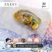 CLUCI 30pcs 6 7mm Oval Freshwater Oyster With Twins Pearl Bead for Women Jewelry Making Real Cultured Pearl Oysters
