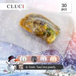 CLUCI 30pcs 6-7mm Ovale Zoetwater Oester Met Twins Pearl Bead voor Vrouwen Sieraden Maken Real Gekweekte parel Oesters