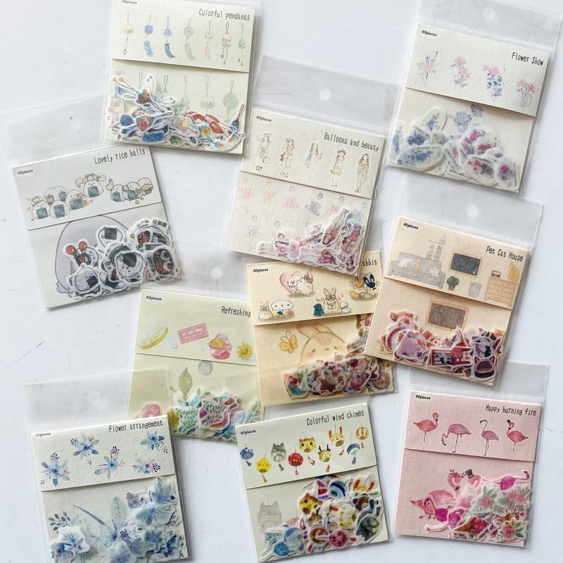 40pcs/set Creative Cartoon Flamingo Wind Chime Flowers Cat Stickers Adhesive Stickers DIY Decoration Stick Label Kids Gift