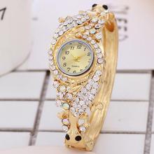 Luxury Women Rhinestone Round Dial Analog Quartz Bracelet