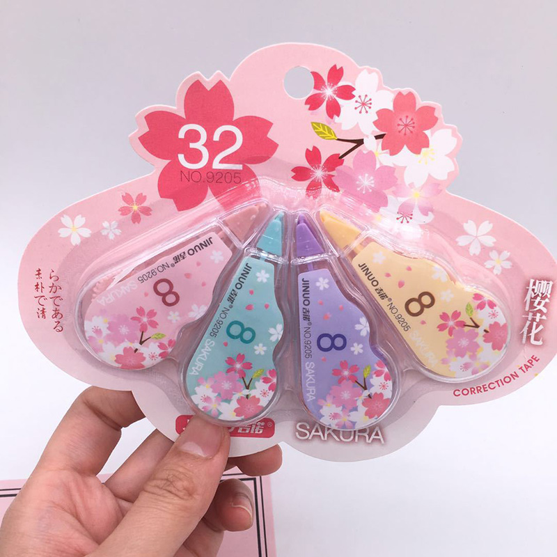 4Pcs/Set 5mm*3m Kawaii Cherry Correction Tape Cute Cartoon Tapes School Writing Corrector Tool Office Supplies Stationery