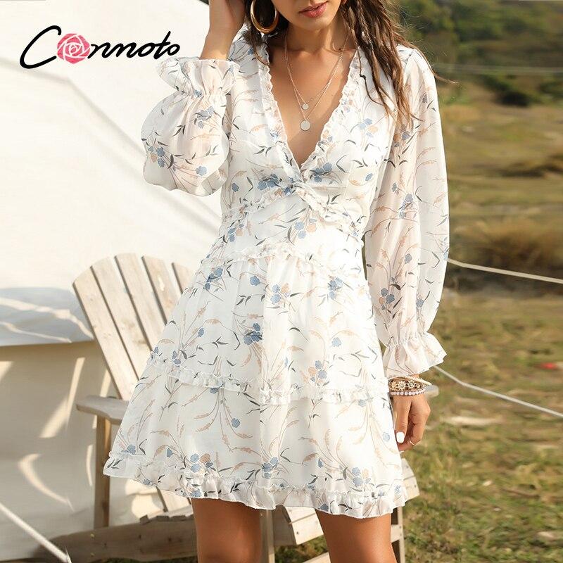 Conmoto Chiffon Sexy Casual Summer Beach Dresses Women Plus Size Floral Boho Dress Long Sleeve Short Vintage Dress Vestidos