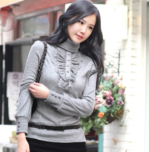Woherb New Turtleneck Ruffles Knitted Pullover Plus Size Casual Slim Pullover For Women 2019 Autumn Winter Sweater S-3XL