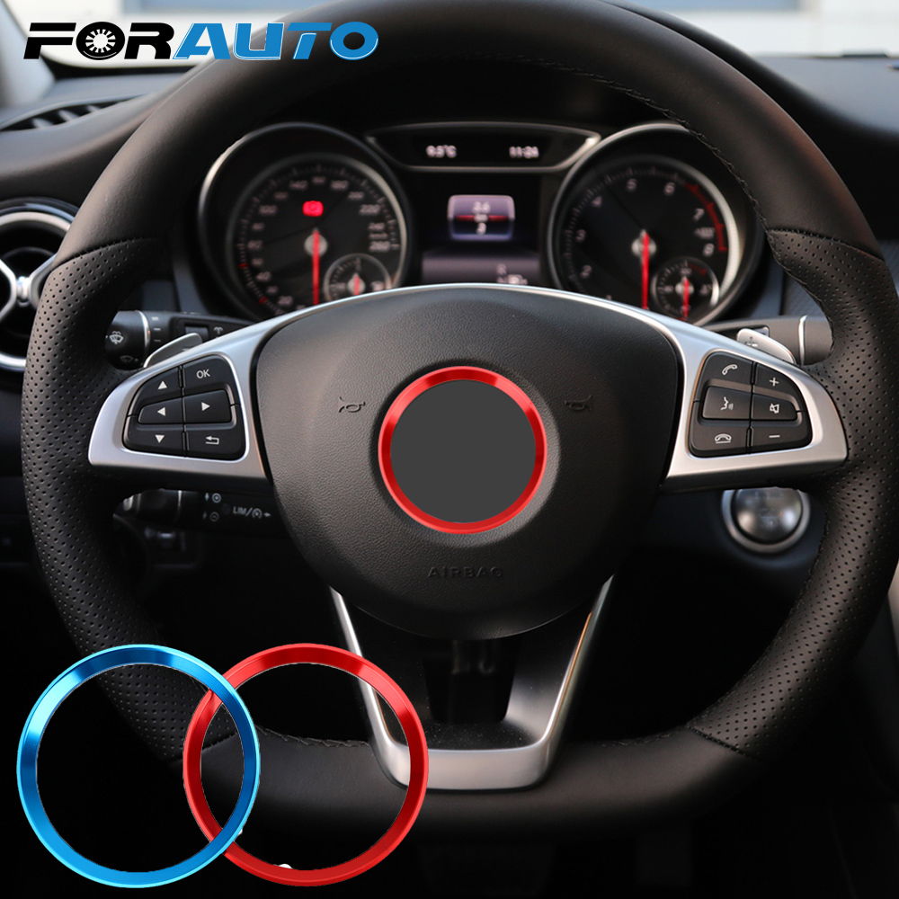 Steering Wheel Ring Trim Self Adhesive Circle Sticker Car Decoration For Mercedes Benz CLA GLK A Class W204 W246 W176 W117 C117