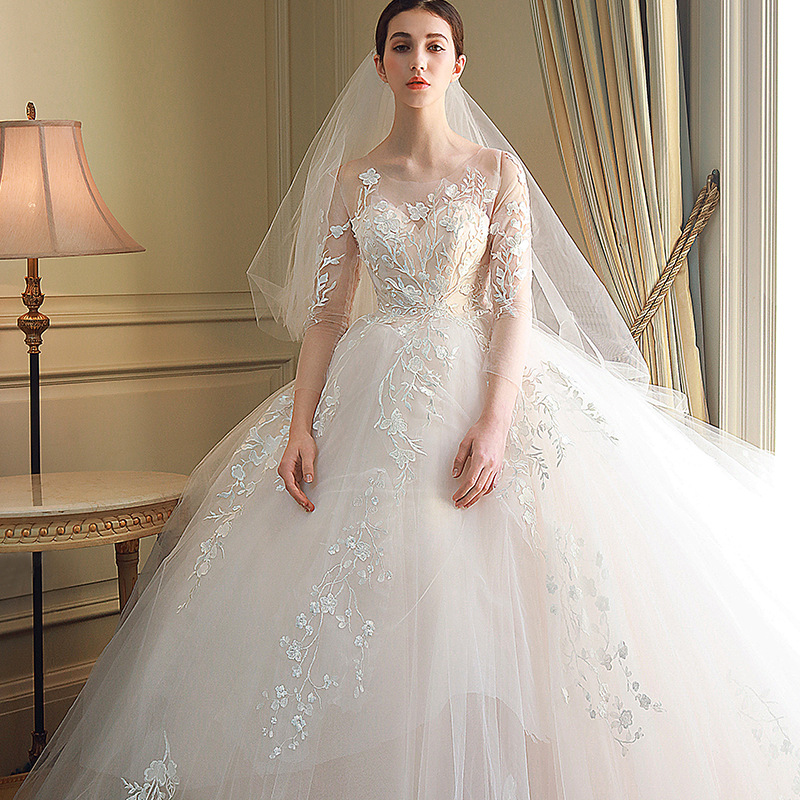Women's Luxury O  Neck Embroidery Bridal Gown Lace Up Wedding Dresses Vestido De Noiva /свадебное платье/robe De Mariee