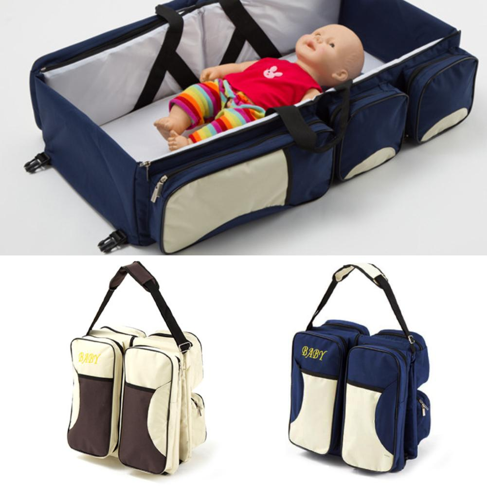 Portable Foldable Diaper Nappy Bag Baby Crib Bed Travel Mummy Shoulder Pouch Baby  Crib Bed With Bands For Outdoor Home Travel