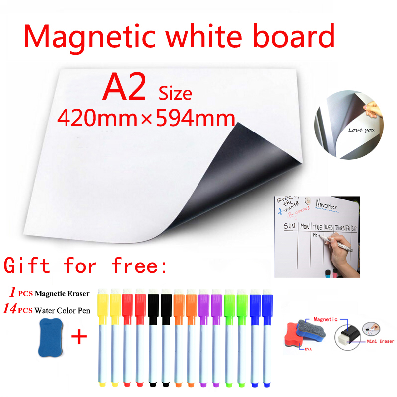 Magnetic Whiteboard Fridge Magnets Dry-erase Calendar Kids Board Memo School White Board Sticker Gift 14 Color Pen 1 Erasser